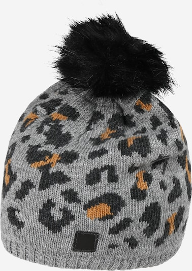 MAXIMO Čepice 'Leo' - šedý melír / oranžová / černá, Produkt