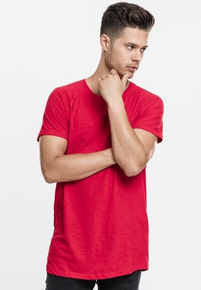 Urban Classics Shirt 'Long Shaped Slub Raglan Tee' in de kleur Rood: Vooraanzicht