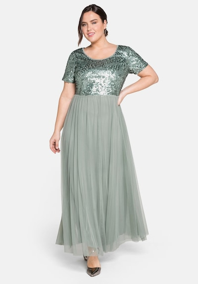 SHEEGO Společenské šaty - pastelově zelená / tmavě zelená, Model/ka
