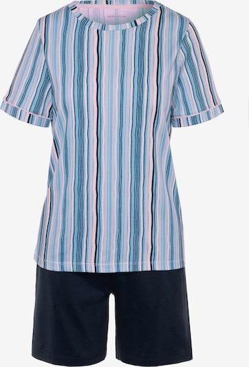 SEIDENSTICKER Kurzarm Pyjama ' Minimal Stripes ' in blau / dunkelblau / rosa, Produktansicht