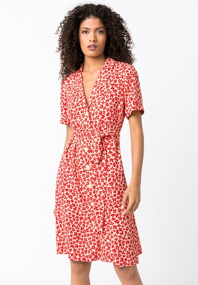 HALLHUBER Blusenkleid mit Reverskragen in rot / weiß, Modelansicht
