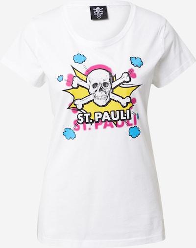 FC St. Pauli T-shirt 'Totenkopf Pow' en turquoise / citron vert / fuchsia / noir / blanc, Vue avec produit