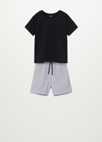 MANGO KIDS Pyjama 'Orson' in schwarz / weiß, Produktansicht