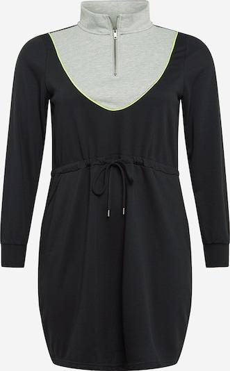 Zizzi Jurk 'MIRENE' in de kleur Neongeel / Grijs gemêleerd / Zwart, Productweergave