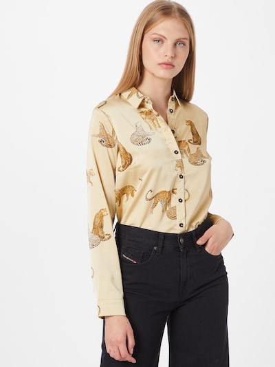 NEW LOOK Bluse in hellbraun / goldgelb / schwarz / weiß, Modelansicht