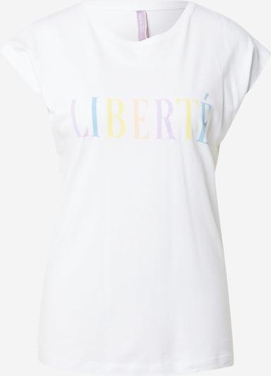 Stitch and Soul T-shirt en bleu / jaune / mauve / pêche / blanc, Vue avec produit