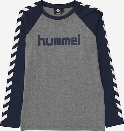 Hummel Shirt in dunkelblau / graumeliert / weiß: Frontalansicht