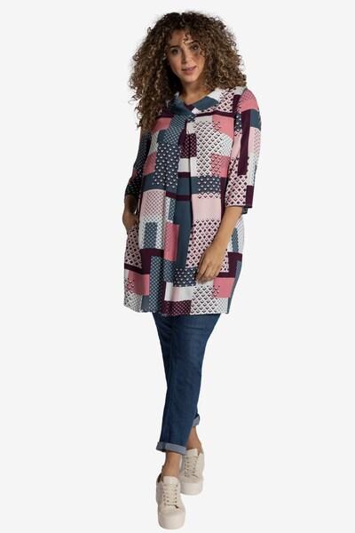 Ulla Popken Kleid in pink / weinrot / weiß, Modelansicht