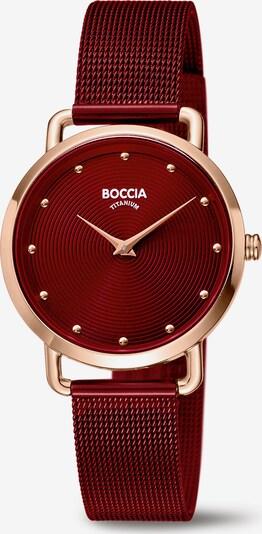 Boccia Titanium Analoguhr in rosegold / dunkelrot, Produktansicht
