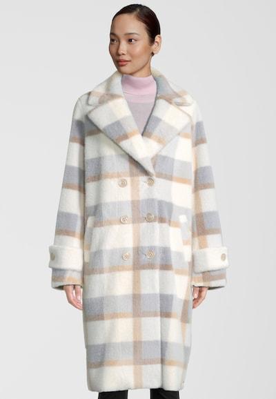 RINO & PELLE Fake Fur Mantel Favor in beige / creme / taubenblau, Modelansicht