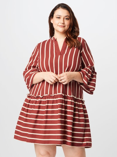 Vero Moda Curve Kleid in rostbraun / cappuccino, Modelansicht
