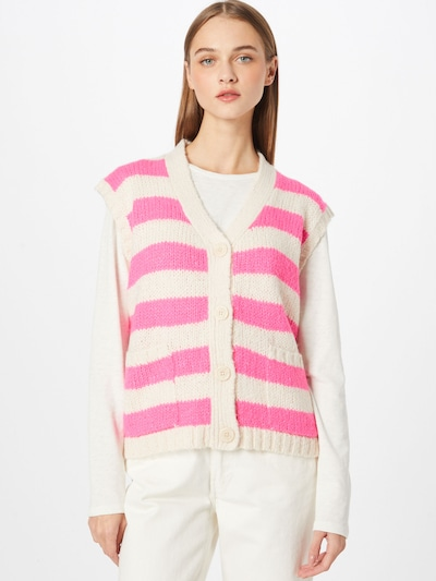 Lollys Laundry Weste 'Celine' in neonpink / weiß, Modelansicht