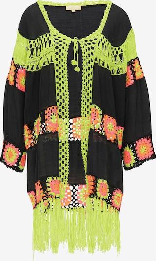 MYMO Kimono en jaune fluo / rose / noir, Vue avec produit