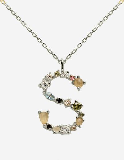 P D PAOLA Charm-Kette 'Buchstabe S Silberhalskette' in gold / grau / silber, Produktansicht