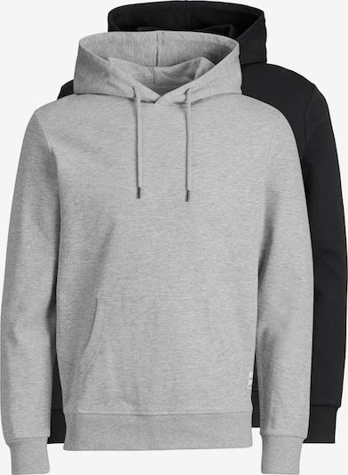 JACK & JONES Sweatshirt 'JJEBASIC SWEAT HOOD 2PK MP' in graumeliert / schwarz, Produktansicht
