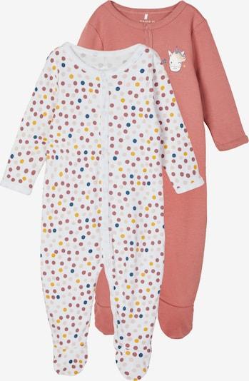 NAME IT Schlafanzug in goldgelb / rosé / puder / burgunder / weiß, Produktansicht
