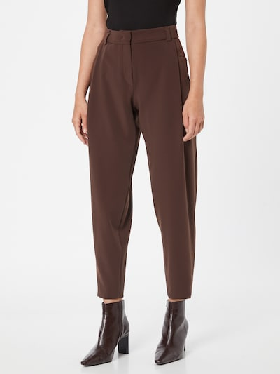 Riani Pleat-Front Pants in Brown, View model