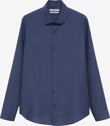 MANGO MAN Button Up Shirt 'PARROT' in Blue
