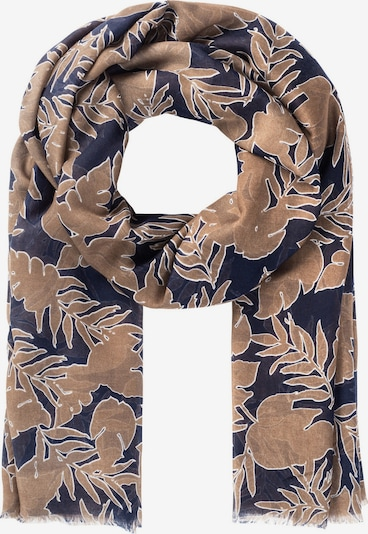 HALLHUBER Schal in dunkelbeige / indigo / weiß, Produktansicht