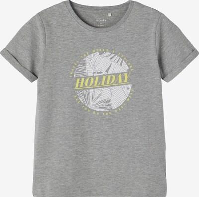 NAME IT Shirt 'Vux' in de kleur Lichtgeel / Grijs gemêleerd / Wit, Productweergave