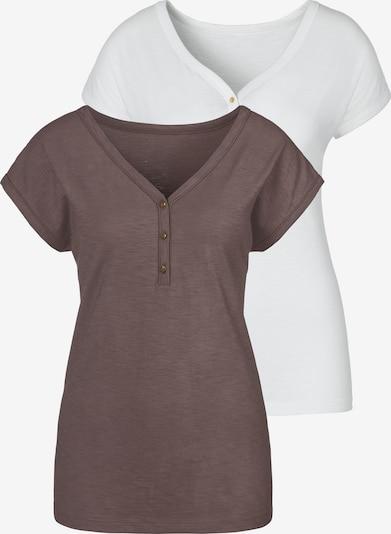 Tricou VIVANCE pe maro mokka / alb, Vizualizare produs