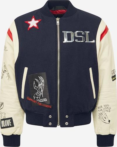DIESEL Přechodná bunda 'L-COHEN' - krémová / námořnická modř / červená / černá / stříbrná, Produkt