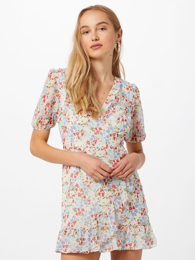 Trendyol Φόρεμα σε κρεμ / μπλε περιστεριού / γαλάζιο / κίτρινο παστέλ / κόκκινο φωτιάς, Άποψη μοντέλου
