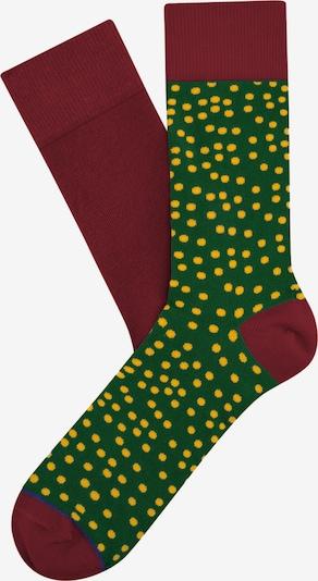 Cheerio Socken in gelb / grün / bordeaux, Produktansicht