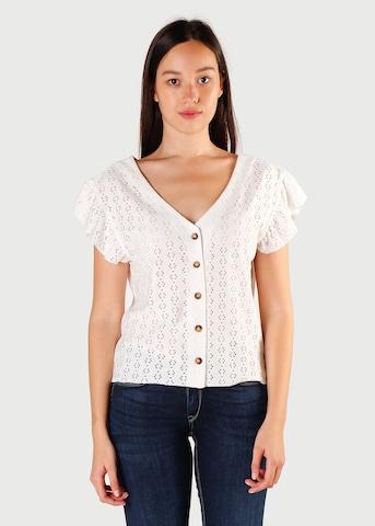 Le Temps Des Cerises Knit Cardigan 'PEDRO' in White