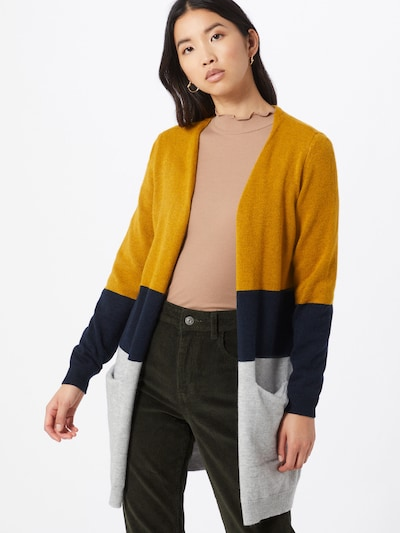 ONLY Strickjacke in gelb / grau / schwarz, Modelansicht