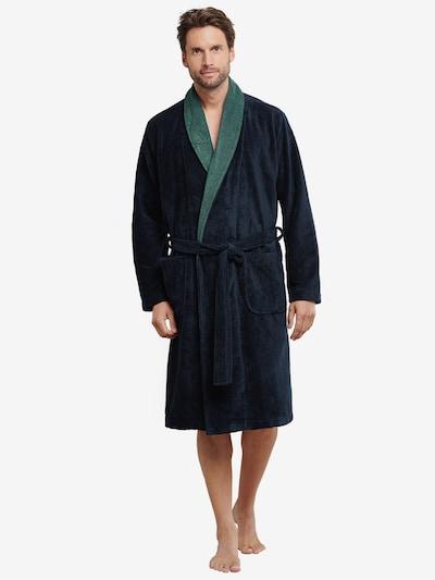 SCHIESSER Badjas lang  ' Wellness ' in de kleur Groen / Donkergroen, Modelweergave