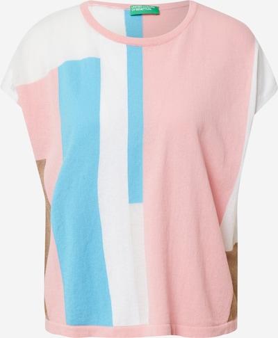 UNITED COLORS OF BENETTON Trui in de kleur Lichtblauw / Bruin / Pink / Wit, Productweergave