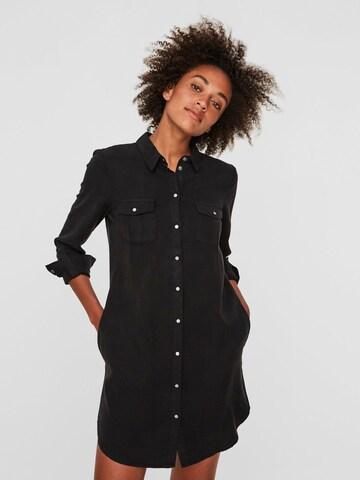 VERO MODA Košeľové šaty 'Chambray' - Čierna