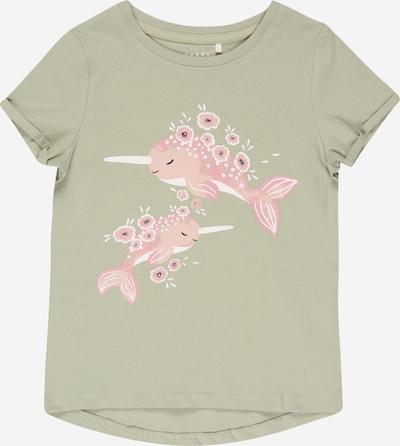 NAME IT Camiseta 'VIX' en verde pastel / rosa / blanco, Vista del producto