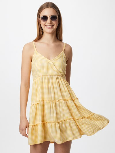 HOLLISTER Kleid in gelb / weiß, Modelansicht