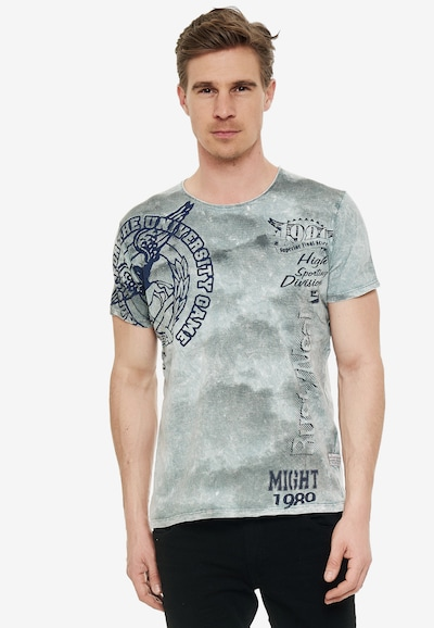 Rusty Neal Cooles T-Shirt mit angesagtem Print in grau: Frontalansicht