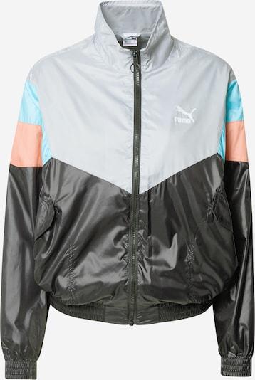 PUMA Übergangsjacke 'Woven' in pastellblau / hellgrau / pastellpink / schwarz, Produktansicht