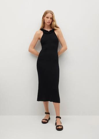MANGO Gebreide jurk 'LILI' in Zwart