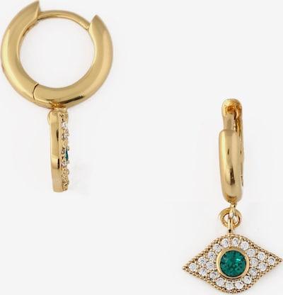 Auskarai 'Evil Eye' iš Orelia, spalva – Auksas / žalia / skaidri spalva, Prekių apžvalga