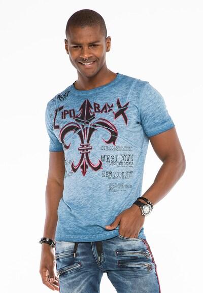 CIPO & BAXX Shirt 'Emblem' in de kleur Blauw: Vooraanzicht