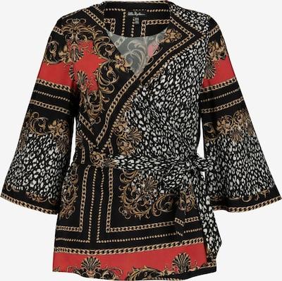 Ulla Popken Kimono Bluse in rot / schwarz, Produktansicht