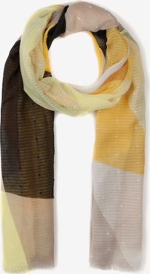 Ulla Popken Sjaal in de kleur Goudgeel / Lichtgeel / Pastelroze / Zwart / Wit, Productweergave