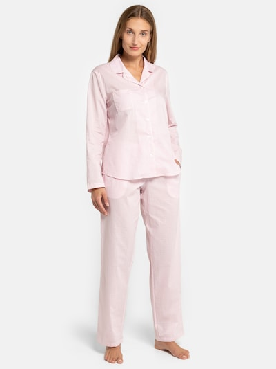 SEIDENSTICKER Langarm Pyjama ' Minimal ' in rosa: Frontalansicht
