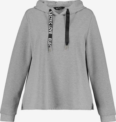 Ulla Popken Sweatshirt in hellgrau / schwarz / weiß, Produktansicht