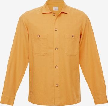 TERRA LUNA Handgewebtes Overshirt HALE mit zwei Brusttaschen in Gelb