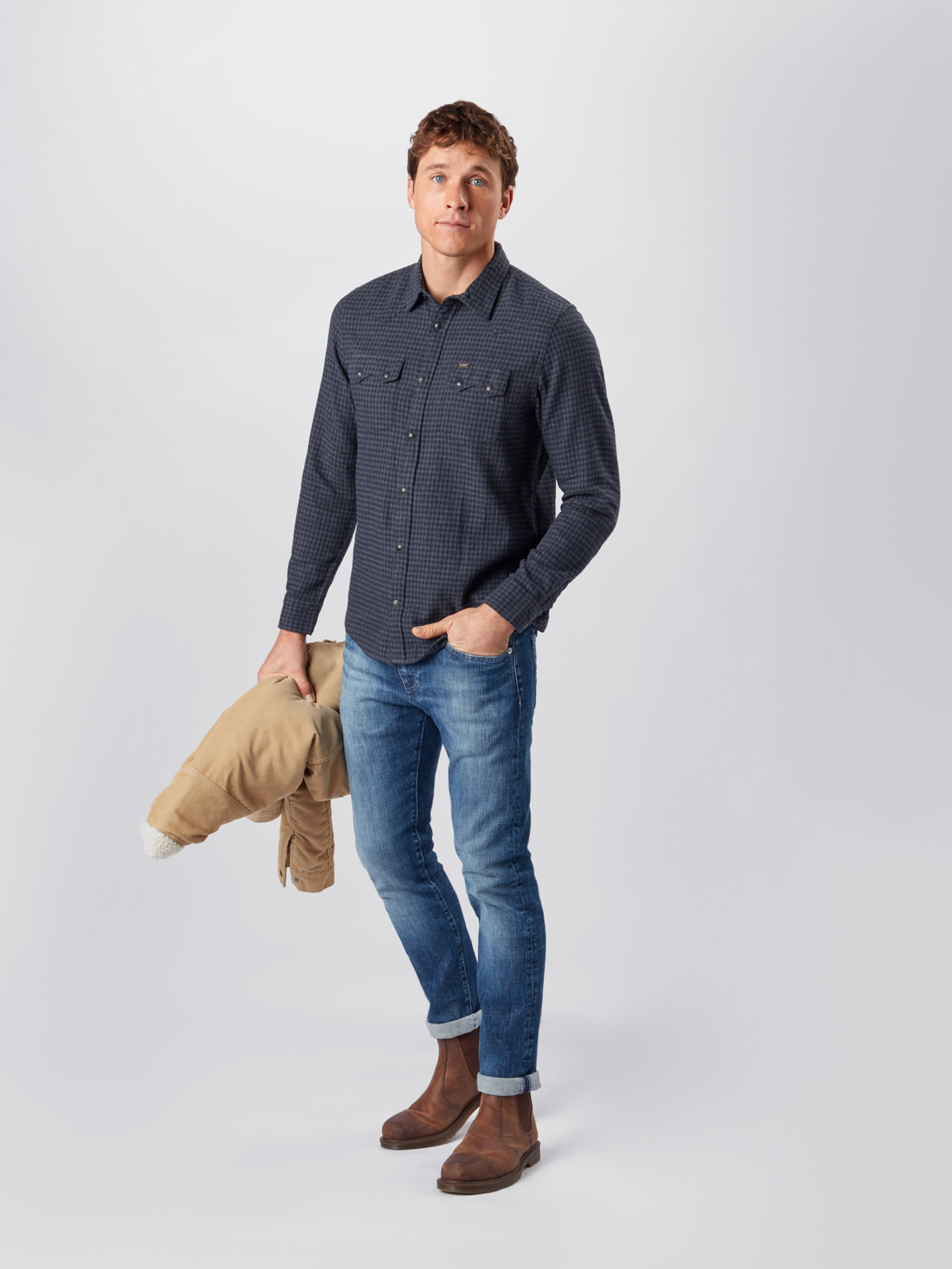 Lee Skjorta 'Rider' i blå / mörkgrå