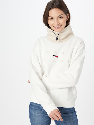 Tommy Jeans Sweatshirt in Beige / Cream / Night blue / Red / White: Frontal view