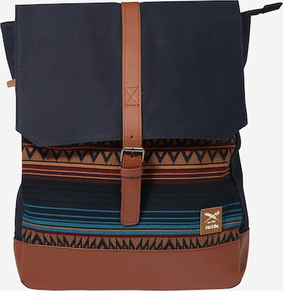 Iriedaily Backpack 'Vintachi' in Navy / Sky blue / Caramel / Dark red, Item view