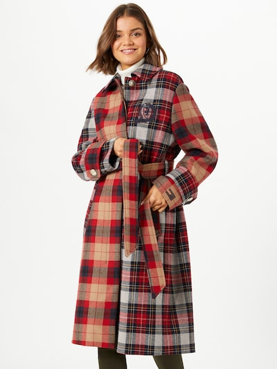 TOMMY HILFIGER Manteau mi-saison en mélange de couleurs / rouge, Vue avec modèle
