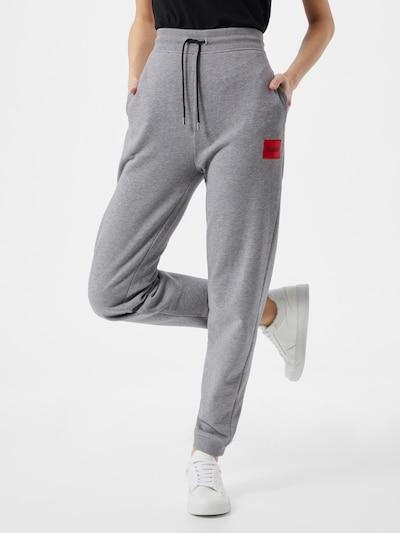 HUGO Pants 'Dachibi' in mottled grey / Fire red / Black, View model